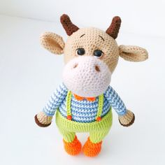 Only 3 days 40% discount on all toys 🤗 Crochet Cow, Crochet Baby Toys, Crochet Toddler, Crochet Animals, Fox Stuffed Animal, Stuffed Toy, Doll Toys, Pet Toys, Bull Symbol