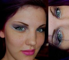 violet makeup with pink lips