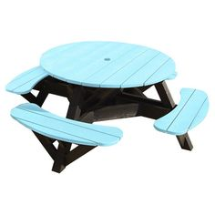 Outdoor CR Plastic Generations 51 in. Round Recycled Plastic Picnic Table - Black Frame Aqua