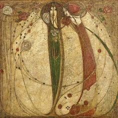 Margaret Macdonald Mackintosh (1865-1933) - White Rose and Red Rose. Glasgow, Scotland. Circa 1902.