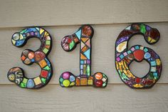 Custom Made Stained Glass Mosaic House Numbers - Wild & Funky Colors and Shapes. $23.00, via Etsy.