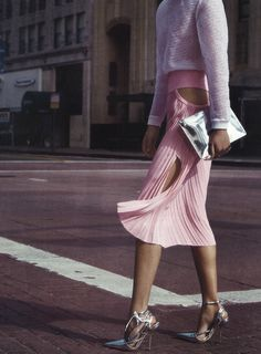 walking in pink