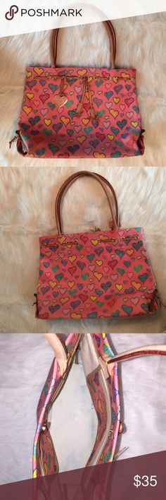 "Dooney & Bourke Pink Heart Purse D&B Pink Heart Purse, larger size 15""X11-1/2""x4-1/2"", shoulder drop 8"", pen marks inside, small water mark on 1 bottom corner (see pictures). Dooney & Bourke Bags Shoulder Bags"