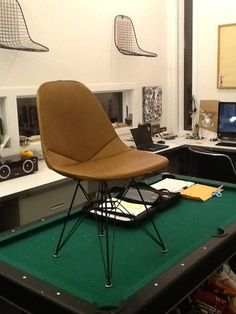 prototype of the reproduction upholstery in dark brown leather