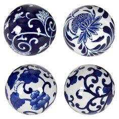 Set of 4 Decorative Ceramic Balls - Blue