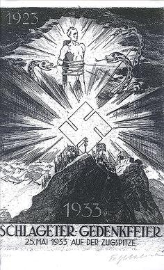Fritz Uhlich: Schlageter-Gedenkfeier 25. Mai 1933 auf der Zugspitze, Radierung, poster propaganda