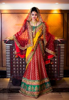 Gorgeous bridal lehenga, Indian bride, dupatta style