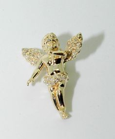 """Micro 1"""" inch baby angel in gold  and diamond H VS1 includes micro ball chain available in 10kt 14kt and silver."""