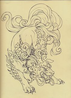 """I REALLY liked the creativity used in this particular piece! Lovely, clean, smooth lines, nice line thickness variation, clean of smudges, and stray marks, nice """"action pose"""" going here, piece is very """"alive."""" Love it! Foo Dog lineart by ~Quinneys on deviantART"""