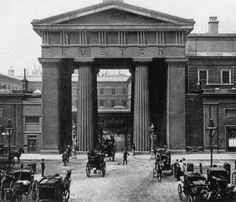 An poster sized print, approx (other products available) - The entrance to Euston Station in London. It was demolished in (Photo by Hulton Archive/Getty Images) - Image supplied by Fine Art Storehouse - poster sized print mm) made in Australia Victorian Buildings, Victorian Architecture, London Architecture, Victorian London, Vintage London, London History, British History, Fine Art Prints, Canvas Prints