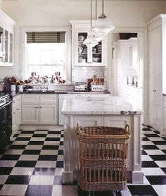 ❤ the staffordshire dogs in window & this entire kitchen...Black and White Kitchen | Content in a Cottage