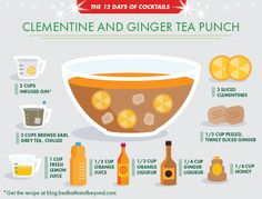 This Holiday party punch recipe is packed with infused gin, grey earl tea, several liqueurs and honey.