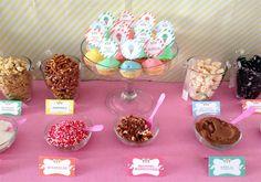 We are so having an ice cream sundae bar Icecream Bar, Icecream Ideas, Sundae Bar, Cream Candy, Ice Bars, Ice Cream Social, Hot Chocolate Bars, Ice Cream Parlor, Ice Cream Toppings