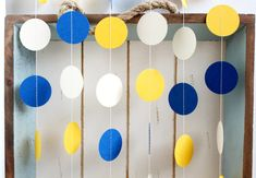 Navy Blue, White, Yellow 12 ft Circle Paper Garland- Wedding, Birthday, Bridal Shower, Baby Shower, Party Decorations on Etsy, $10.00