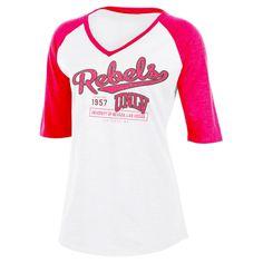 NCAA Unlv Rebels Women's Fashion V-Neck Raglan T-Shirt - L, Multicolored