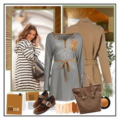 """Henley Striped Long Sleeve T-Shirt Dress"" by carola-corana ❤ liked on Polyvore featuring Pat McGrath"