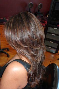 Dark chocolate hair with caramel highlights   Yelp