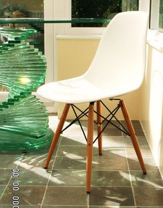 Slight Seconds DSW Wooden Legs Eames Panton Ghost Style Chair White ABS Seat | eBay