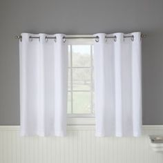 Maintain privacy with bathroom curtains - get bath window curtains and bathroom window valances at Bed Bath & Beyond. Shop for pretty window curtain panel pairs and more now. Window Seat Curtains, Plain Curtains, Bathroom Window Curtains, Bath Window, Bathroom Window Treatments, Window In Shower, Bathroom Windows, Curtains With Blinds, Window Coverings