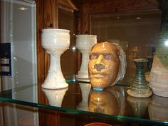 Stoneware pottery and death mask   . . . (sealed in time at age 22)