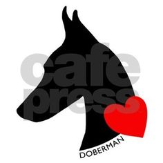 Doberman with Heart Silhouett Decal by daecugifts