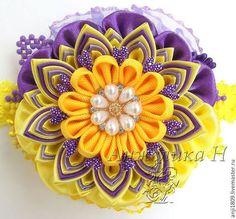 Цветок-канзаши на брошь, ободок, заколку или повязку - цветок ручной работы