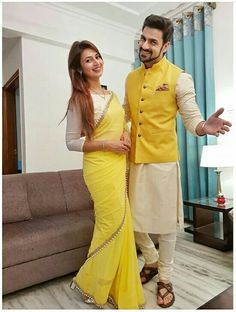 Shop Divyanka Tripathi Yellow Saree LSD 123 Replica Online with the best price Fashion House for Brides. Flaunt latest styled cuts and look with these Indian Dresses, Give yourself the stylish look for a Wedding in Season Have a look now. Couple Wedding Dress, Wedding Dresses Men Indian, Indian Dresses, Indian Outfits, Wedding Kurta For Men, Wedding Couples, Mens Indian Wear, Indian Groom Wear, Indian Men Fashion