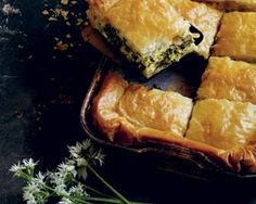 Spinach and wild garlic filo pie