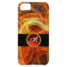 CRAZY PHOTON RED RUBY GEM STONE MONOGRAM CASE FOR iPhone 5C