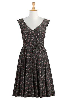 I <3 this Dotted floral print cotton dress from eShakti
