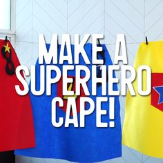How to Make a Superhero Cape for Kids: This easy no-sew cape is simple, fun, and perfect for a kid's costume! Check out our video tutorial for the full how-to plus more superhero birthday party ideas. ideas for kids No-Sew Superhero Cape No Sew Cape, Diy Cape, How To Sew A Cape, Avengers Birthday, Superhero Birthday Party, Boy Birthday, Superhero Party Decorations, Sewing For Kids, Diy For Kids