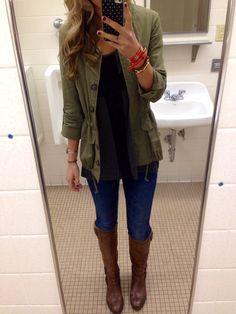 Classy bathroom photo, but I love the army green jacket!!