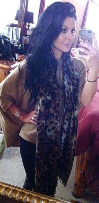 Camel poncho & leopard print scarf