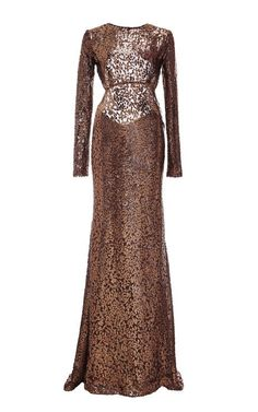 Silk Burnout Velvet Long Sleeve Gown by Monique Lhuillier for Preorder on Moda Operandi