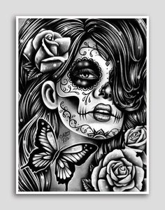 Day of the Dead Poster Sugar Skull Girl Butterfly Tattoo Art Wall Art Epiphany 18x24 inch Signed Art Print Dia De Los Muertos