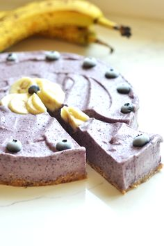 Blueberry Banana Nice Cream Tart - Little Bits Of Real Food