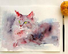 Originele aquarel van kat Maine coon - origineel schilderij van kat maine coon - kerst cadeau idee - kat Roos