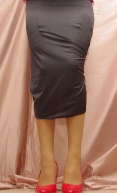 Visible Garter Bumps Under Long Black Half Slip Sheer Black Stockings and Red High Heels