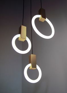 Contemporary Halo Brushed Brass Round Chandelier (standard) by Matthew McCormick Studio For Sale Modern Lighting Design, Custom Lighting, Interior Lighting, Round Chandelier, Linear Chandelier, Applique, Illumination Art, Bedroom Lamps, Contemporary Lamps
