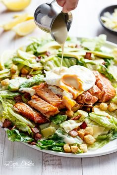 Grilled Salmon and Avocado Caesar Salad by cafedelites #Salad #Salmon #Avocado #Healthy