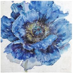 Pier 1 Imports Blue Blooming Flower Art ($127) ❤ liked on Polyvore featuring home, home decor, wall art, blossom wall art, pier 1 imports, blue wall art, blue home accessories and flower stems