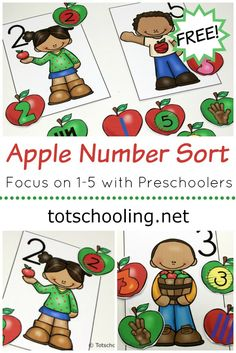 FREE printable Apple themed activity for toddlers and preschoolers to practice number recognition with sorting numbers Perfect preschool math activity for the Fall! Preschool Apple Activities, Preschool Apple Theme, Numbers Preschool, Free Preschool, Preschool Themes, Preschool Learning, Toddler Activities, Free Printables Preschool, Preschool Apples