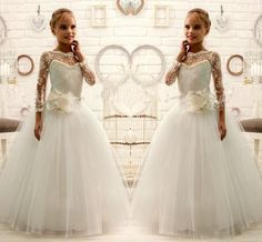 2015 Ivory Lace Beaded Long Sleeves Ball Gown Tulle Baby Girl Dresses Kids Dresses For Wedding Kids Wedding Dresses Flower Girl Dresses B5 Pageant Dresses Cheap Pageant Dresses For Teenage Girl From Liuningshop, $121.47  Dhgate.Com