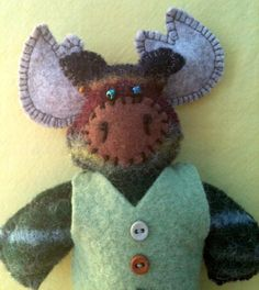 Tiny Stuffed Moose by ArtsySewin on Etsy