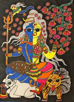 ardhanarishwar #madhubani Traditional Paintings, Traditional Tattoo, Traditional Art, Madhubani Art, Madhubani Painting, Turbans, Pine Tree Tattoo, Indian Folk Art, Indian Art Paintings