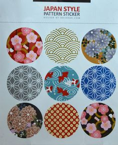 Items similar to 9 Round Japanese Kimono Design Paper Sticker Labels. Washi Paper Design on Etsy Motif Kimono, Kimono Design, Kimono Pattern, Kimono Fabric, Japan Design, Japanese Patterns, Japanese Textiles, Japanese Paper, Japanese Fabric