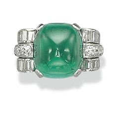 Art Deco emerald, diamond, and platinum ring, 1930s