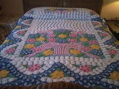 Blue with Basket of ROSES and CURLIQUES - Vintage Chenille Bedspread