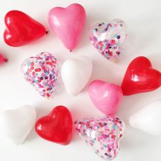FREE SHIPPING Valentine's Day Vday Galentine's Day 5 inch mini heart latex balloons pink white red confetti