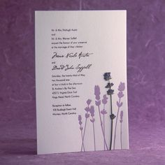 LOVE the pressed flower!  - Lavender Field - pressed flower Letterpress Wedding Invitation - lavender/cocoa on pearl. $5.00, via Etsy.